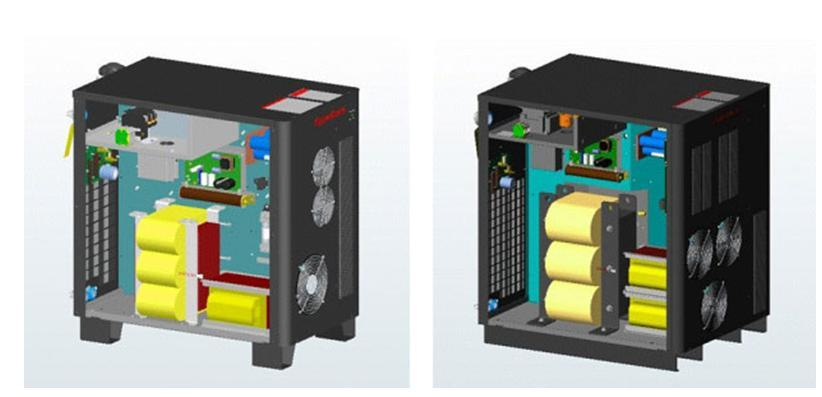 Digital models of two generations of the new power supply unit. DFMA supported a modular design strategy that Hypertherm will follow for more assembly time reductions in the future.