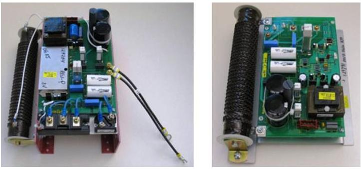 View of the pilot arc controller, which is a subassembly in the power supply unit. The original subassembly (left) had 88 parts. For the redesign (right), Hypertherm engineers cut the number of parts to 16.