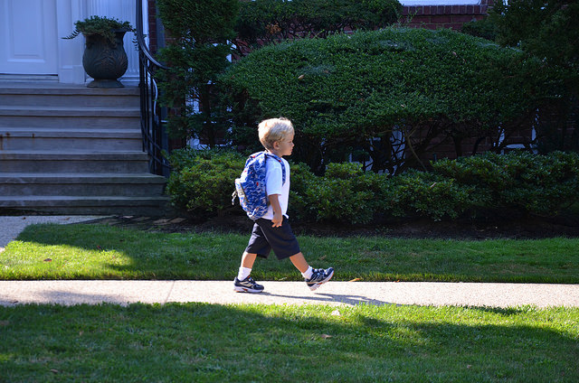 walking to his first day of school